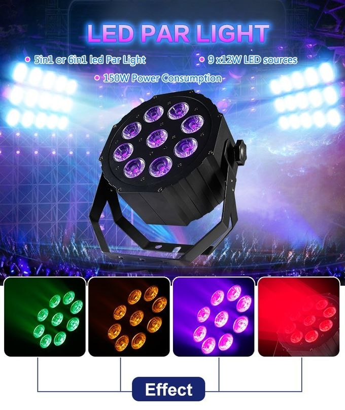 9pcs 12W Led Par Stage Lights RGBWA UV 6in1 DMX For Uplight City Color Light